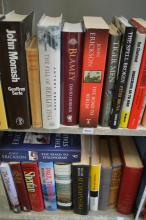 TWO SHELVES OF ASSORTED WAR RELATED BOOKS INCLUDING TIGER MEN AND GOD, GUNS AND ISRAEL