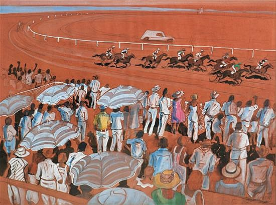 Elizabeth Durack (1915-2000) The Year Bold Halo Won the WP watercolour