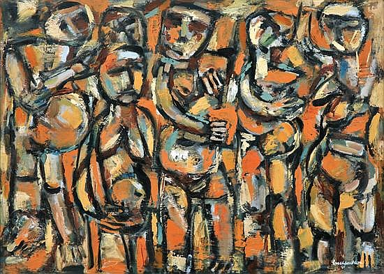 Arch Cuthbertson (1924-2000) Trobriand Warriors 1991 oil on canvas