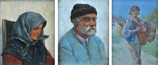 Hermann Reisz (Austrian, 1865-1920) Three works including: i) Seated Womanoil on canvas on boardsigned 'H. Reisz' upper left15 x 12..