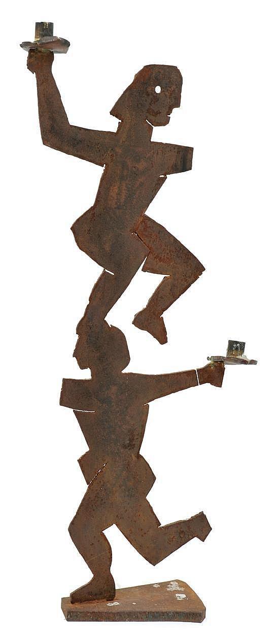 Mike Nicholls (born 1960) Two Figures oxidised metal candelabra