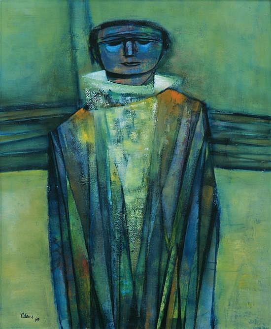 Tate Adams (born 1922) Clown 1959 oil on board