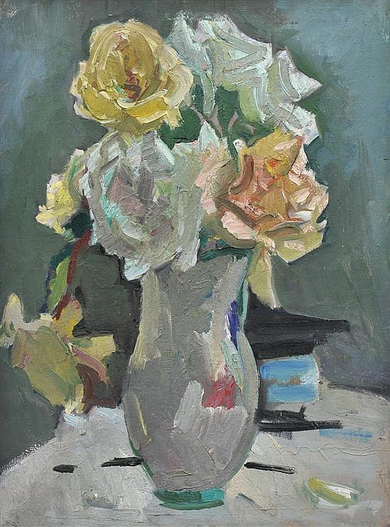 Isabel May Tweddle (1875-1945) Roses circa 1930 oil on canvas