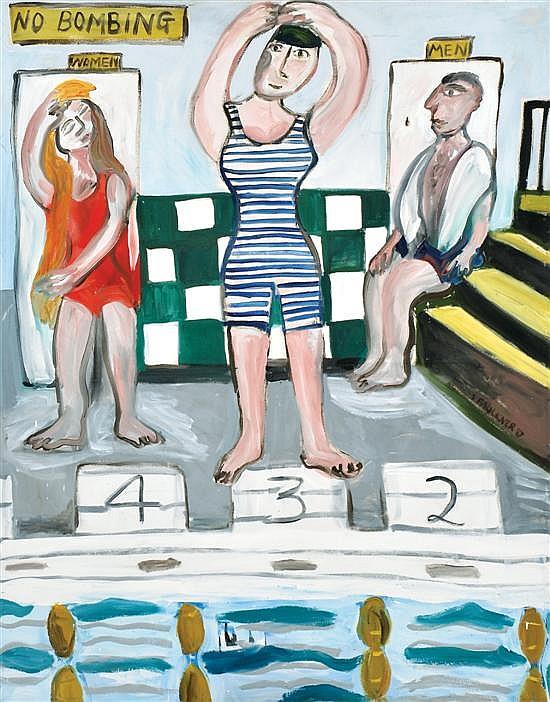 Sarah Faulkner (born 1959) Richmond Baths 1987 oil on canvas