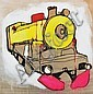Jasper Knight (born 1978) Hot Pink Steam Train 2009 mixed media on board, Jasper Knight, Click for value