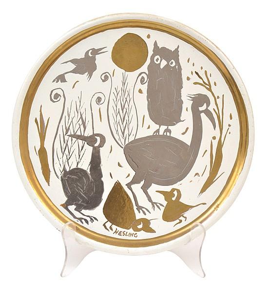 BERNARD HESLING (1905-1987) Cat Among the Birds enamel on metal plate
