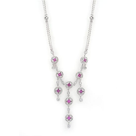 AN ART DECO STYLE RUBY AND DIAMOND NECKLACE
