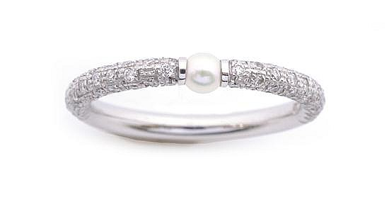 A CULTURED PEARL AND DIAMOND RING BY MIKIMOTO