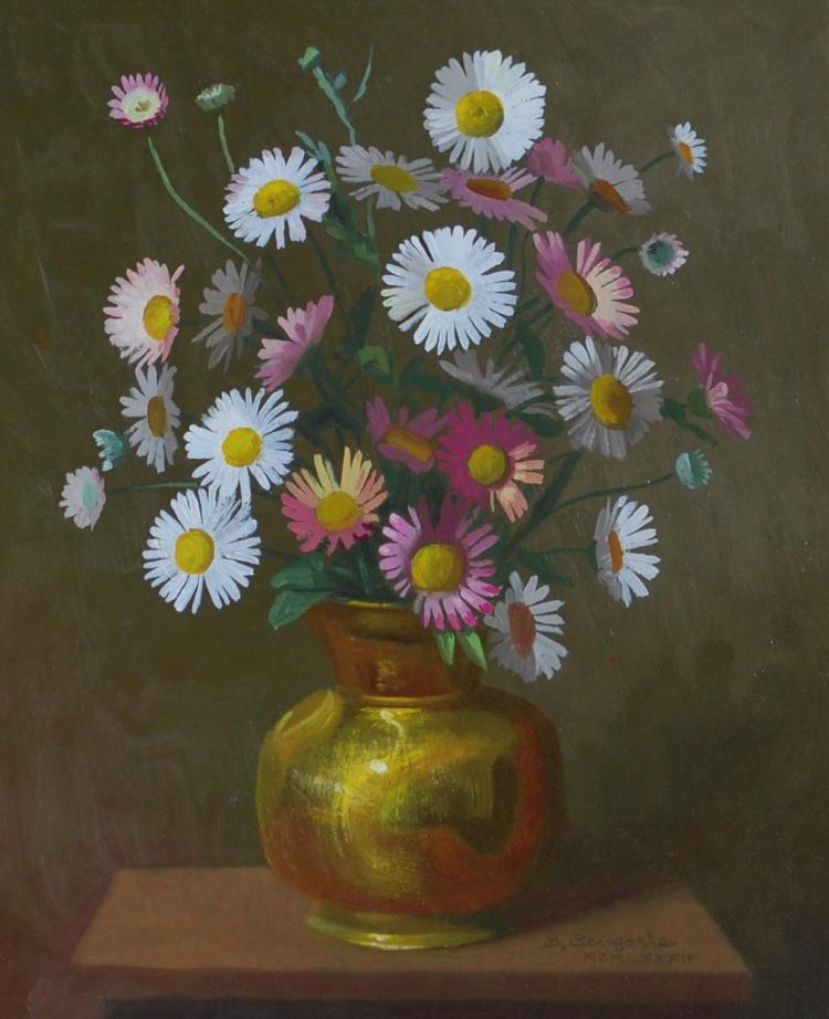 BRUNO CENGARLE, DAISIES, OIL ON BOARD, 24.5 x 19CM