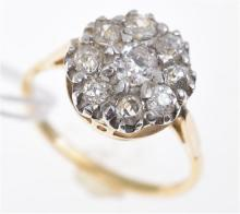 AN OLD CUT DIAMOND CLUSTER RING IN 18CT YELLOW GOLD