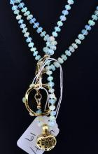 A PAIR OF ETHIOPIAN OPAL BEAD NECKLACES ONE WITH A DIAMOND AND 14CT GOLD HEART PENDANT AND A GOLD PLATED RING SET WITH OPALS