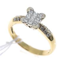 AN ILLUSION SET DIAMOND RING, IN 18CT GOLD