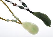 TWO VINTAGE JADE PENDANTS TO CORDETTE NECKLACES