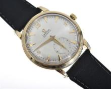 AN OMEGA WRISTWATCH, AUTOMATIC WITH SUB SECONDS AT SIX