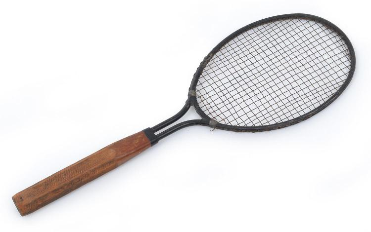 A DAYTON (USA) STEEL HEAD RACQUET WITH WOODEN SCORED HANDLE, MODEL C. 1923 - 1928