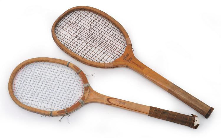 TWO TENNIS RACQUETS INCLUDING A GEORGE BUSSEY (UK) ALERT MODEL FEATURING WAVY EDGE THROAT AND SCORED HANDLE, C. 1900 - 1920