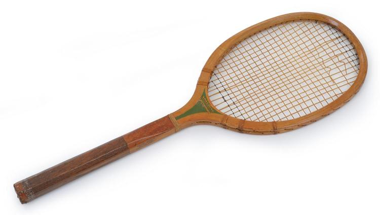 A SPALDING (AUSTRALIA) GREENWOOD MODEL TENNIS RACQUET WITH WOOD SCORED HANDLE, C. 1925 - 1930