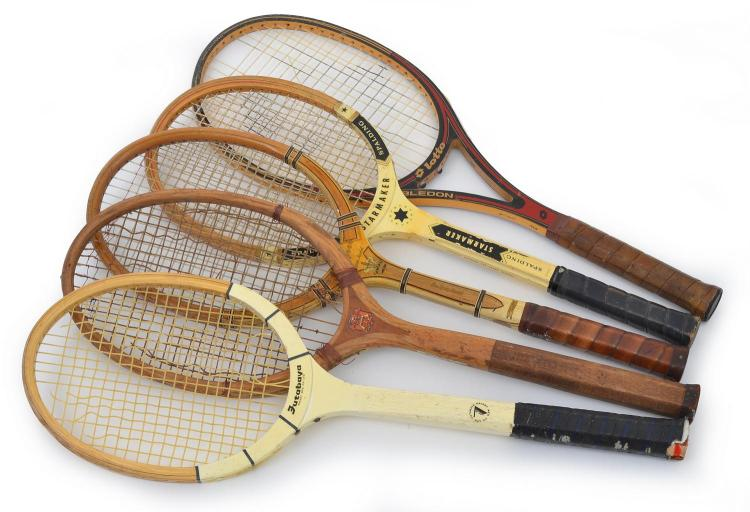 FIVE TENNIS RACQUETS INCLUDING A SPALDING HIGH SPEED DELUX MODEL C. 1940'S-50'S