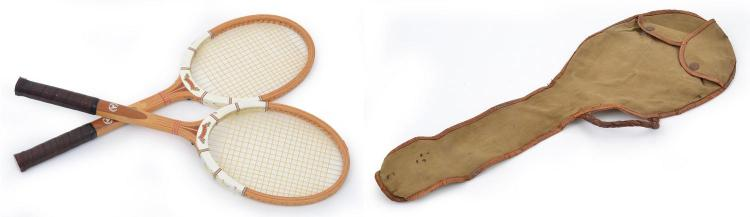 TENNIS RACQUET COVER, CIRCA 1920'S; TOGETHER WITH A PAIR OF MAXPLY TENNIS RACQUETS