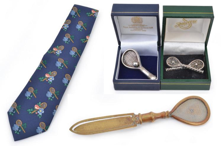 A BRASS TENNIS RACQUET BOOK MARK, A TIE WITH TENNIS MOTIFS - MADE IN FRANCE; AND TWO BOXED SILVER TENNIS BROOCHES