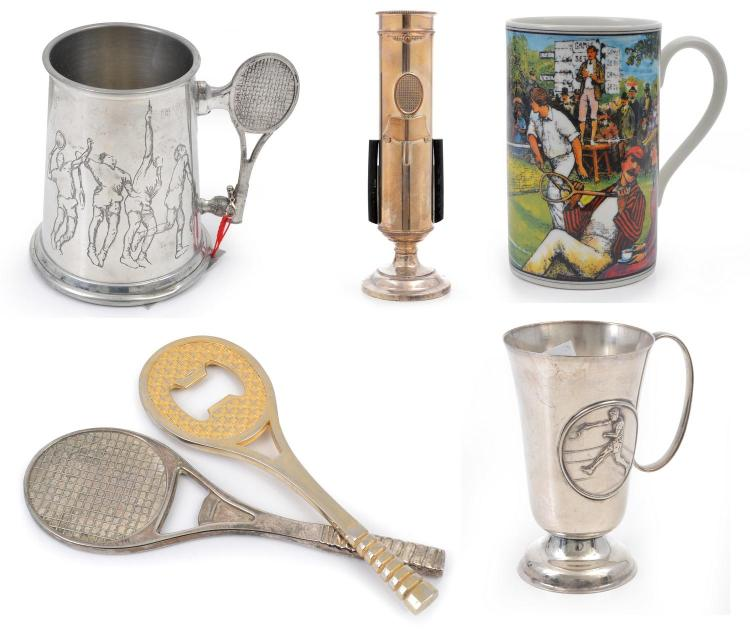 SILVERPLATE, BRASS, PEWTER AND STONEWARE GROUP INCL. A SILVERPLATED ANGUS & COOTE TROPHY WITH TENNIS MOTIF