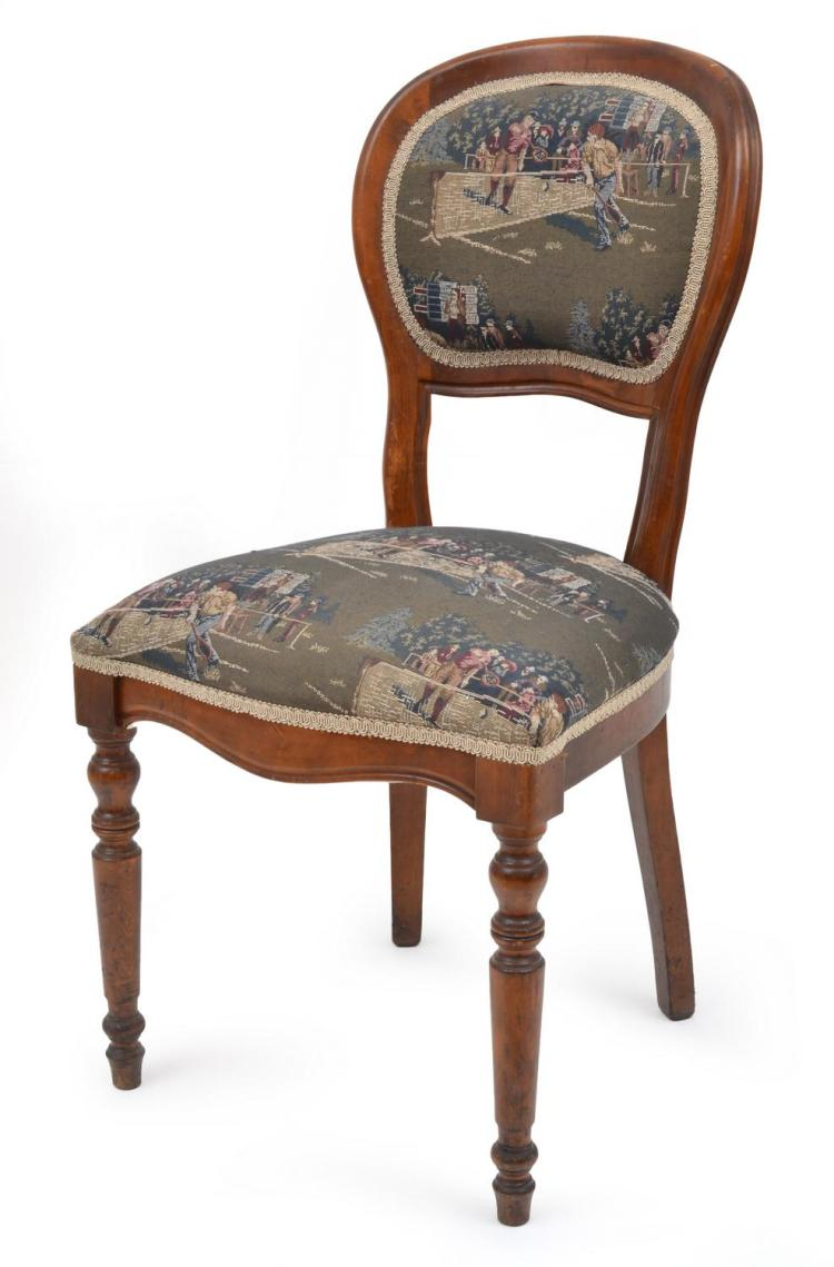 REPRODUCTION BENTWOOD CHAIR WITH EARLY TENNIS MOTIF COVER