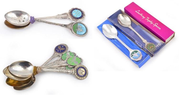 TWO COLLECTABLE SPORTS TEASPOONS; A COLLECTION OF FIVE COLLECTABLES TENNIS TEASPOONS; THREE TENNIS THEMED SPOONS AND A FORK