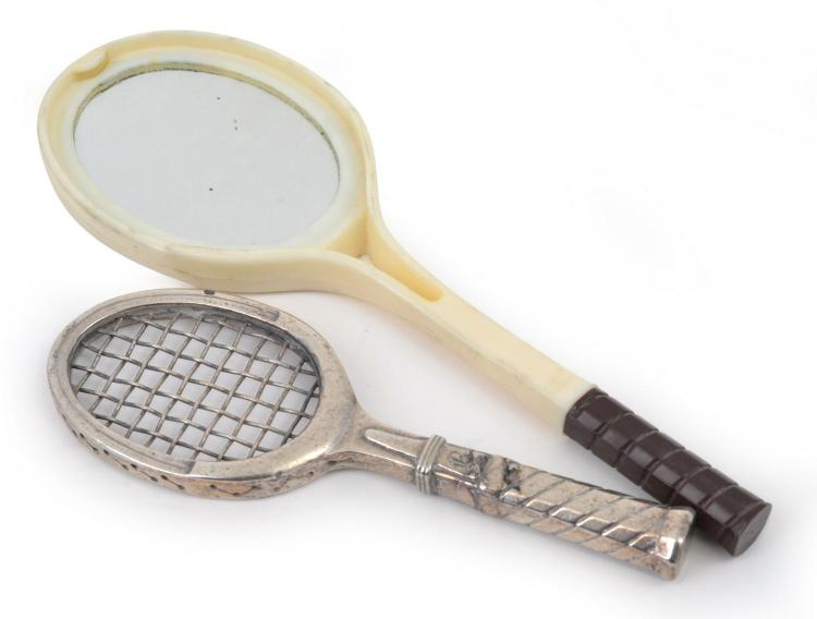 TWO TENNIS RACQUET MINIATURE ITEMS, ONE IN SILVER