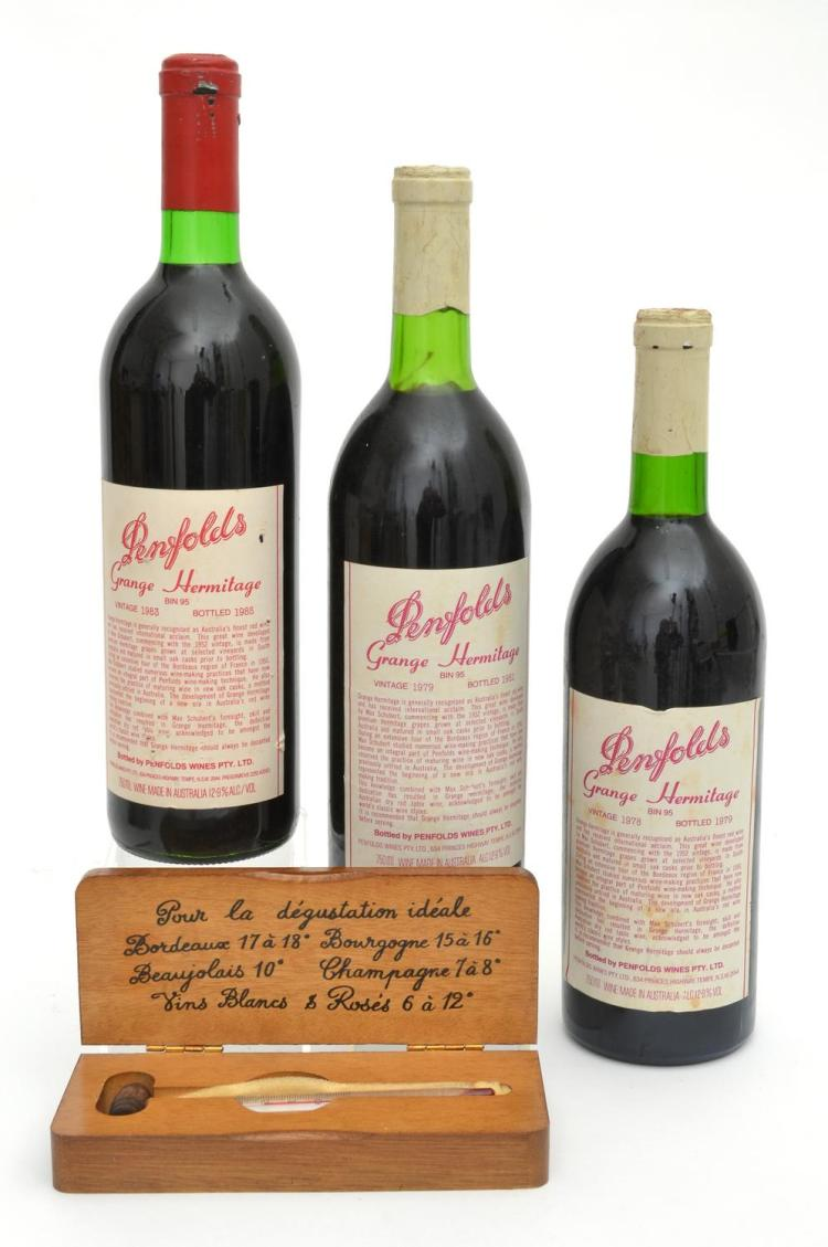 THREE PENFOLDS RED WINE BOTTLES TOGETHER WITH A FRENCH WINE THERMOMETER