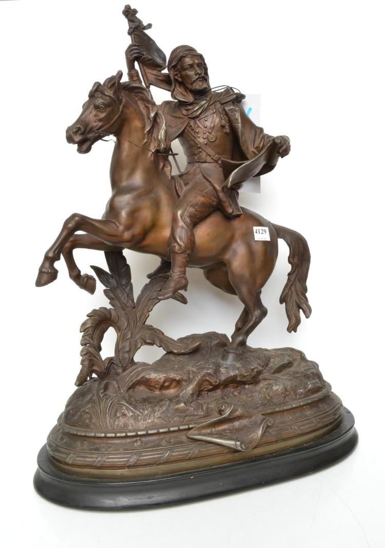 A SPELTER FIGURE OF A MOUNTED HORSE RIDER LATE 19TH CENTURY