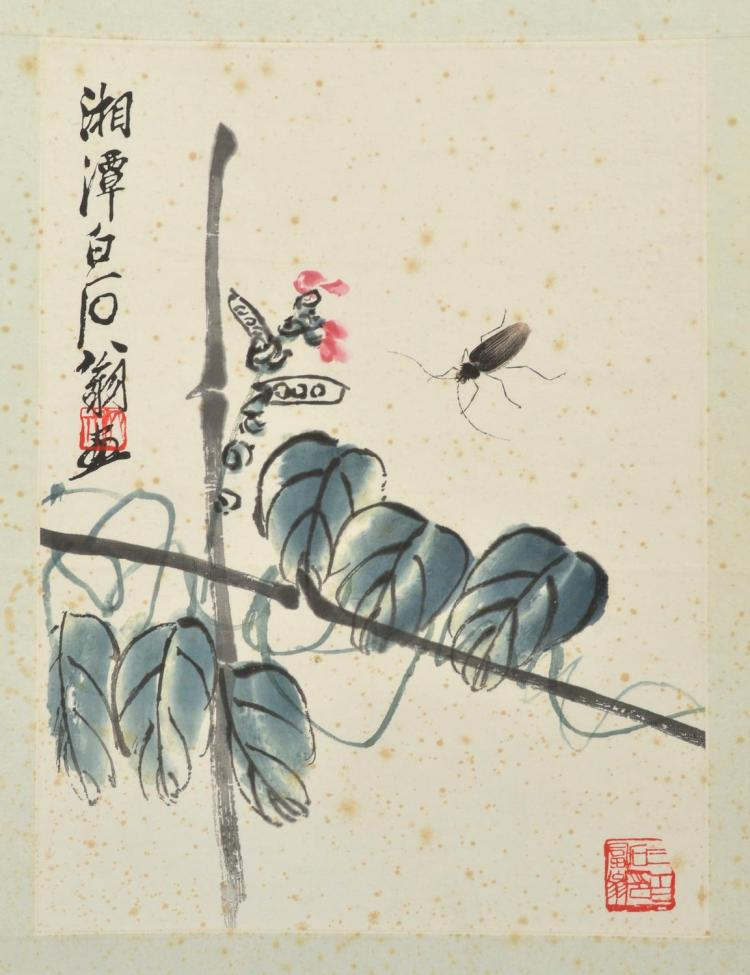 A FRAMED WATERCOLOUR ATTRIBUTED TO QI BAISHI (1864-1957)
