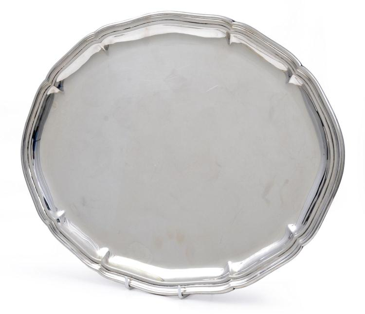 A SILVER SERVING TRAY ASSAYED BY JOHANNES SIGGAARD / DENMARK / 1944