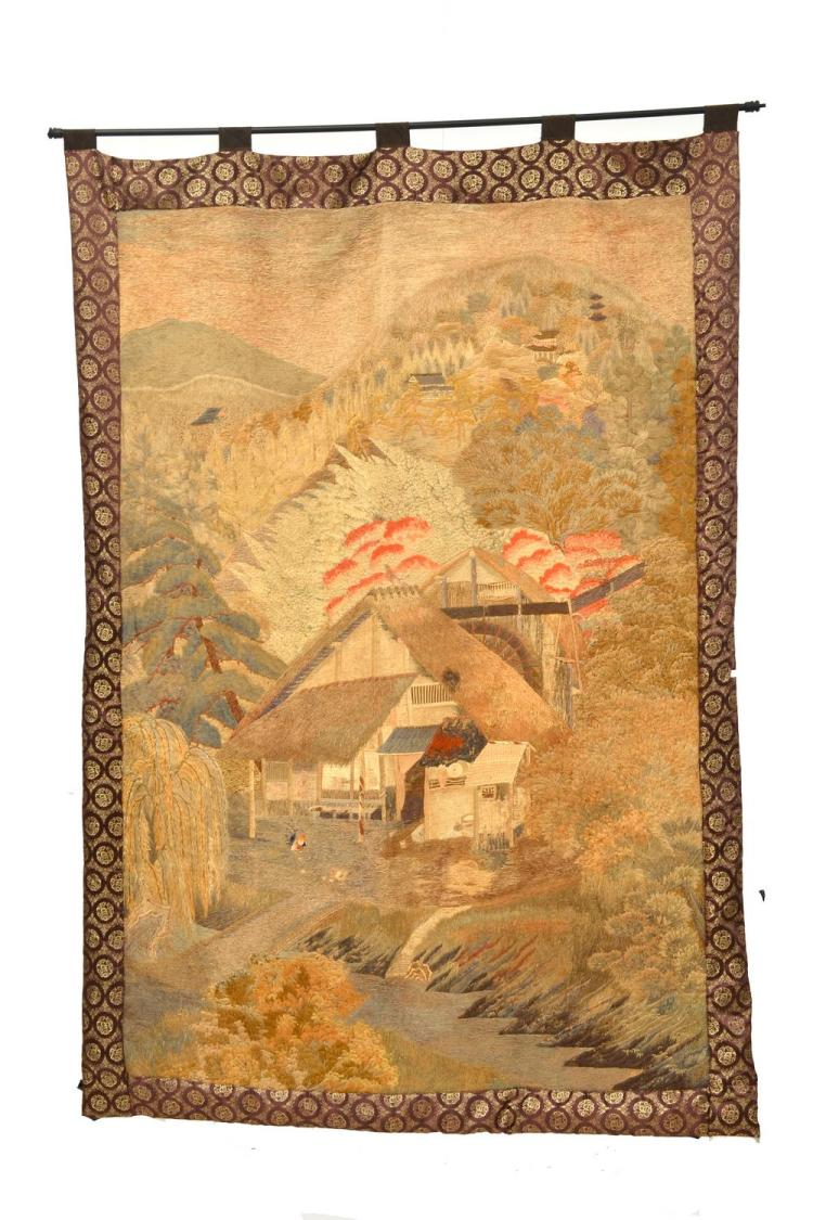 A CHINESE WALL HANGING 19TH CENTURY