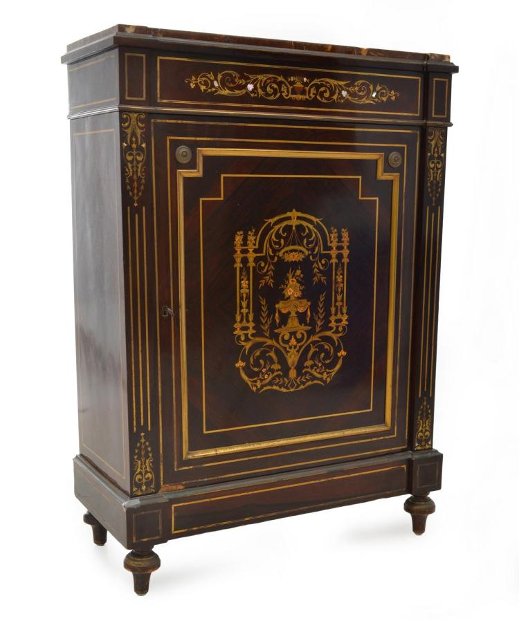 A 19TH CENTURY FRENCH MARBLE TOP BRASS AND STRING INLAID SIDE CABINET