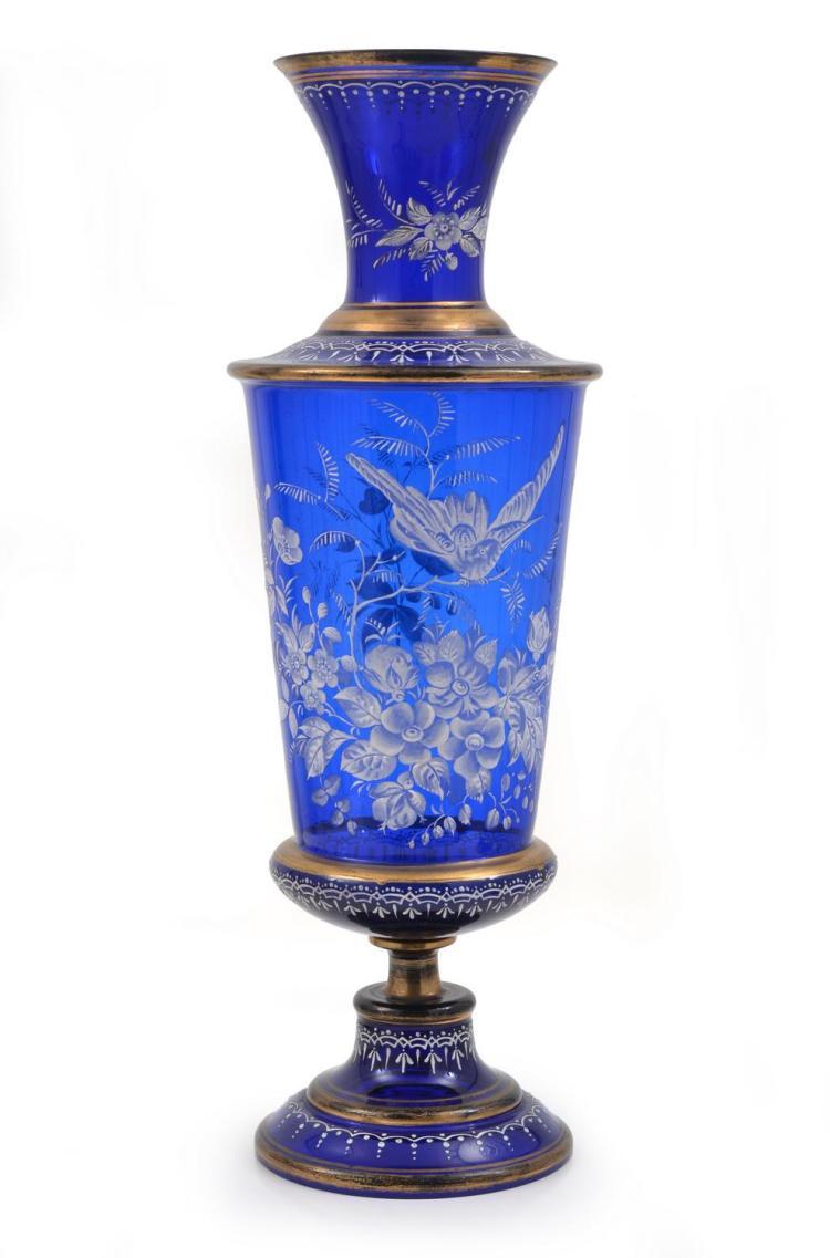 AN IMPRESSIVE VICTORIAN ENAMELLED BRISTOL BLUE GLASS URN