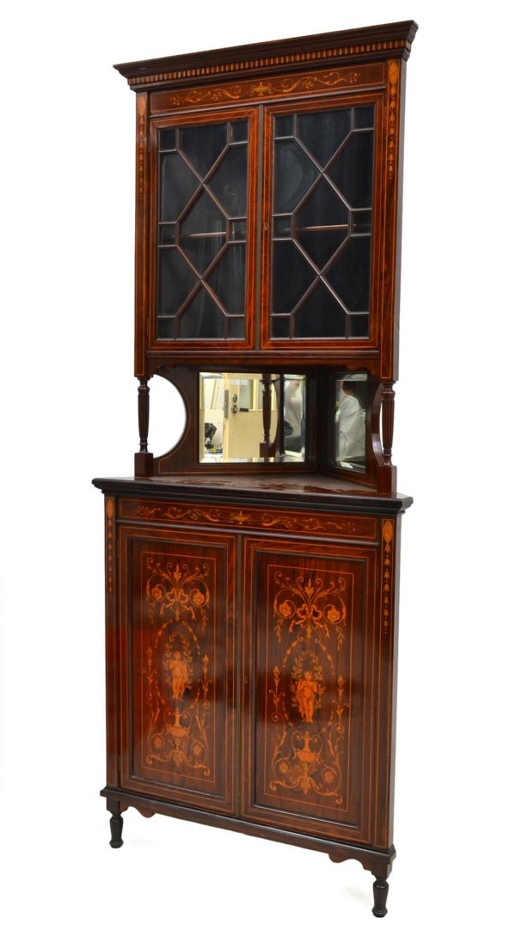 A LATE VICTORIAN MAHOGANY CORNER DISPLAY CABINET