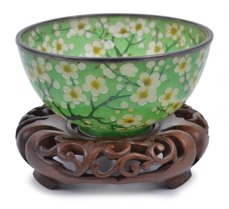 A JAPANESE PLIQUE A- JOUR BOWL ON A CARVED HARDWOOD STAND MEIJI PERIOD (1868-1912)
