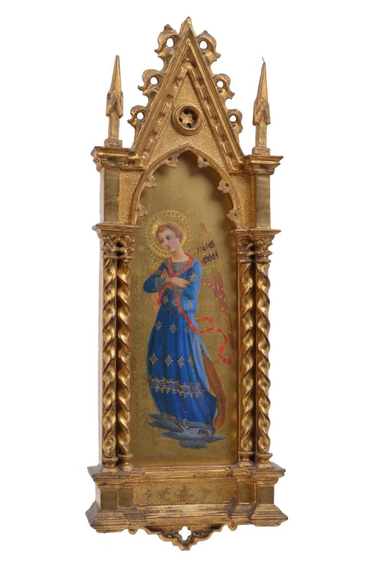 A GRAND TOUR FRAMED GILTWOOD DEVOTIONAL ICON AFTER FRA ANGELICO