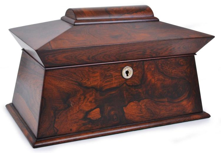 A WILLIAM IV MAHOGANY SACOPHAGUS TEA CADDY