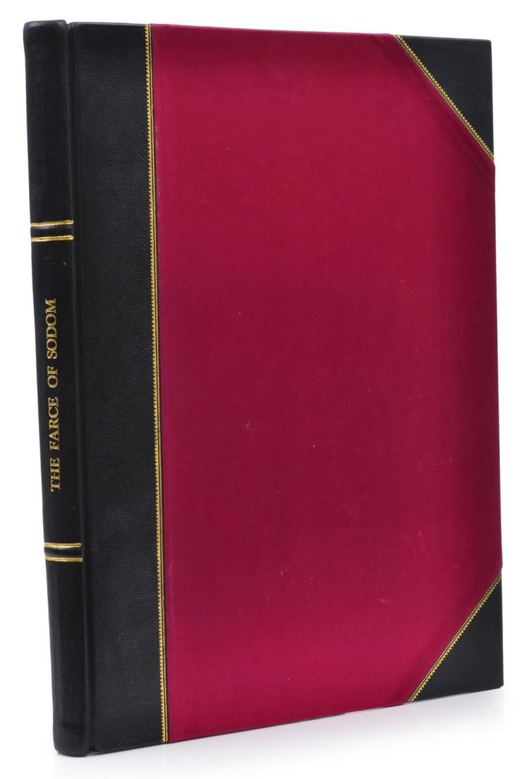 THE FARCE OF SODOM, DONALD FRIEND, GRYPHON BOOKS, LIMITED EDITION 153/250, SIGNED BY THE ARTIST, SILK AND LEATHER BOUND