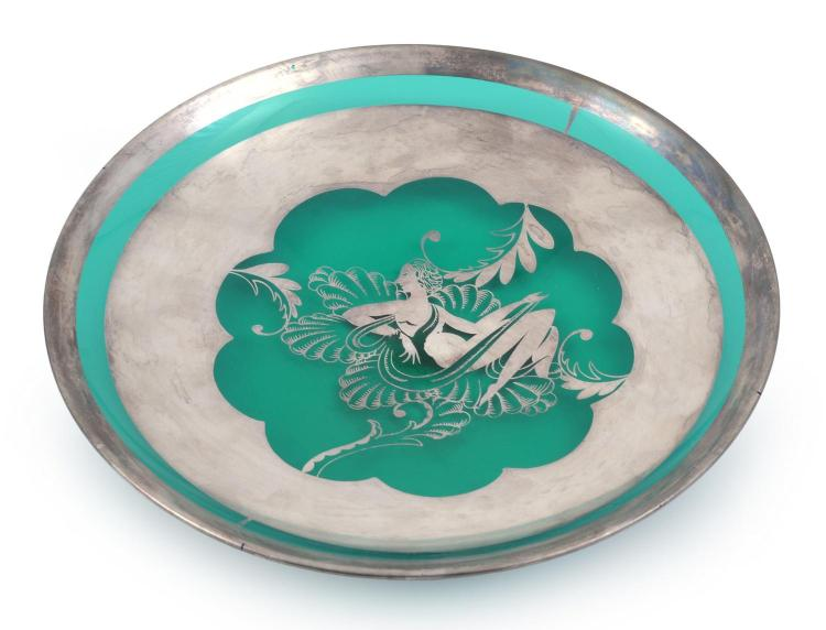 AN ART DECO SILVER OVERLAID GLASS DISH