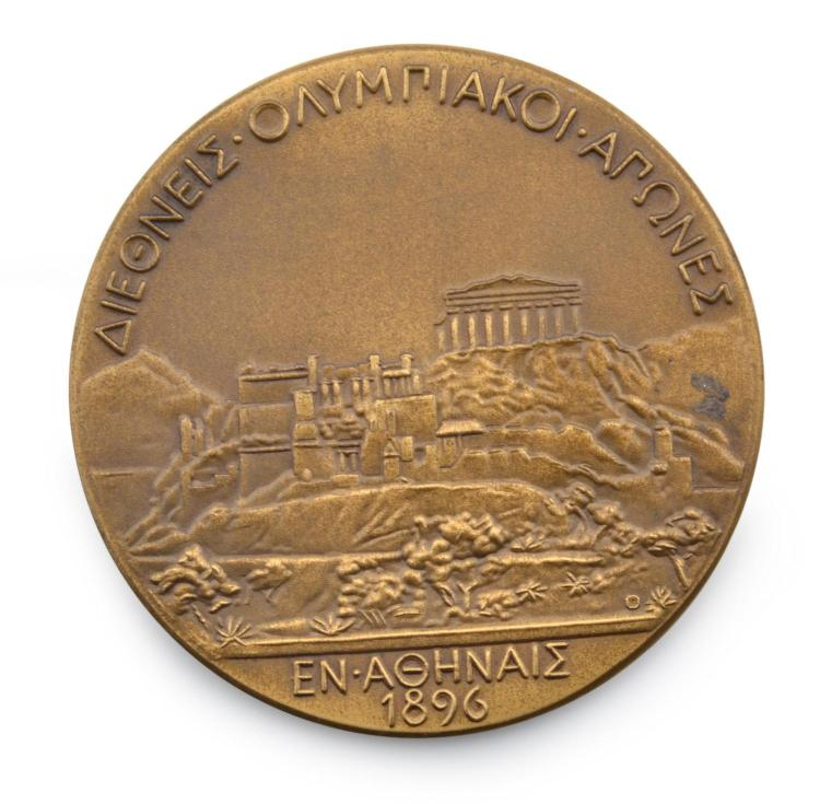 1896 ATHENS OLYPMICS REPLICA PARTICIPATION MEDAL COMMEMORATING THE FIRST MODERN OLYMPIC GAMES
