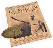 1924 PARIS OLYMPIC GAMES 'LE MEMOIR' NEWSPAPER- DES SPORTS (5.7.1924), AND AN OLYMPIC OATH PLAQUE