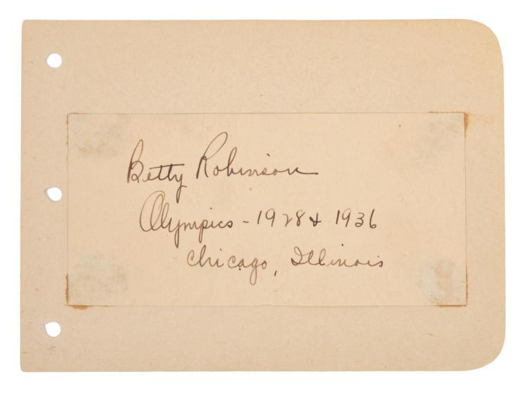 AUTOGRAPHED CARD SIGNED BETTY ROBINSON; FIRST FEMALE GOLD MEDALLIST FOR 100M TRACK; 1928 AMSTERDAM OLYMPICS, 1936 BERLIN