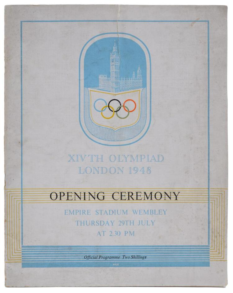 1948 LONDON OLYMPICS OPENING CEREMONY PROGRAM