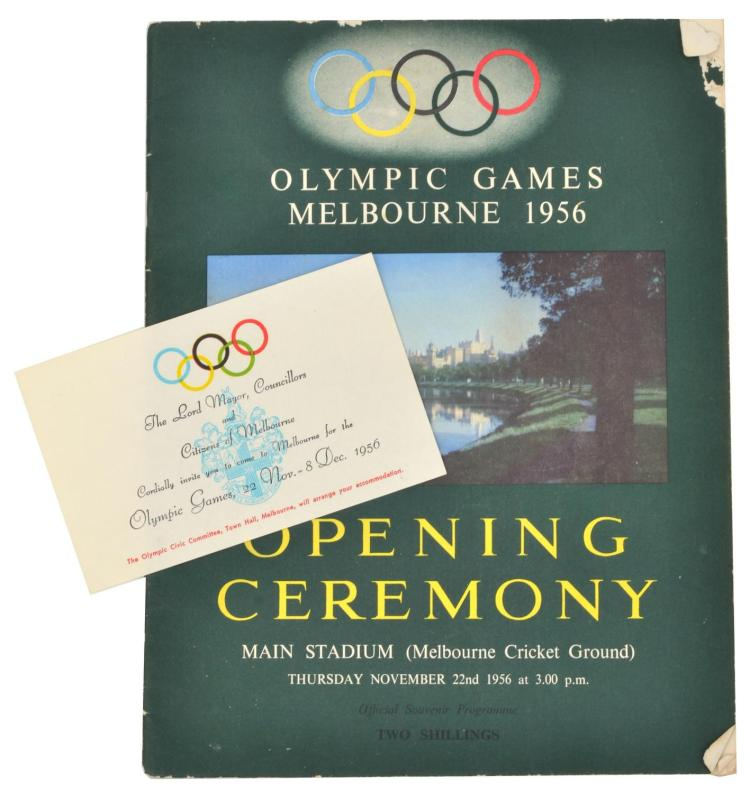 1956 MELBOURNE OLYMPIC GAMES OPENING CEREMONY PROGRAM WITH LORD MAYOR & COUNCILLORS INVITATION TO ATTEND THE GAMES