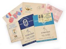 1956 MELBOURNE OLYMPIC GAMES EPHEMERA INCL. TICKETS, ATHLETIC PROGRAMS WITH HAND-WRITTEN RESULTS, SERVIETTE, FIRST DAY COVER & MINI-...