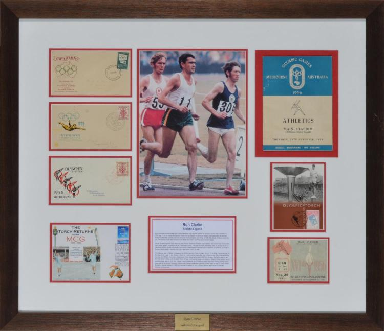 RON CLARKE, AUSTRALIAN OLYMPIAN 1956, FRAMED MONTAGE AUTOGRAPH OF PROGRAM, TICKETS AND FIRST DAY COVER