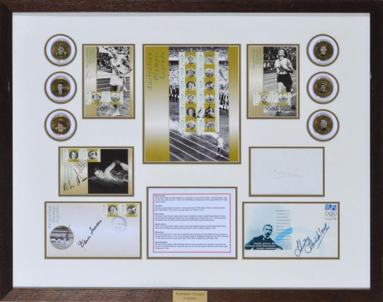 1956 OLYMPIC LEGENDS FRAMED MONTAGE FEAT. MEDALS, PHOTOS AND AUTOGRAPHS