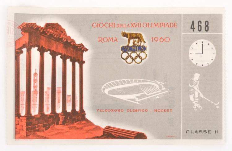 1960 ROME OLYMPIC GAMES TICKET- HOCKEY (AUSTRALIA V INDIA)